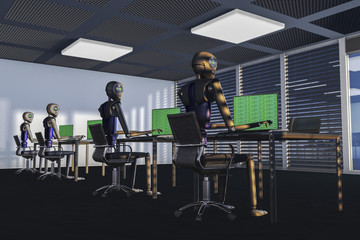 We are the robots, robots in a big office