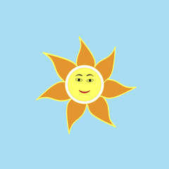 The sun sign on blue background