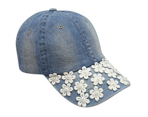 Fashion denim baseball cap for girls with flowers decoration isolated on white background