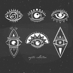 black and white illustration with mystical signs with eyes, esoteric symbols with stylized eyes hand drawn on a chalkboard, vector illustration