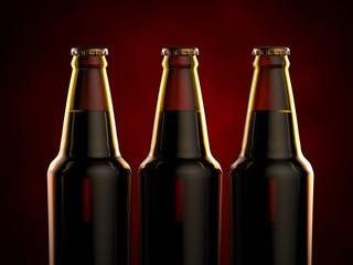 Bottles of beer on a red background. 3d illustration.