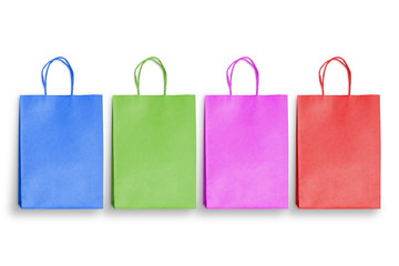 Isolated colorful bags for shopping. Empty space for text