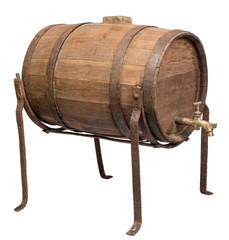 Old wooden barrel on white background