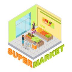 Supermarket. Fruits and Vegetables Department