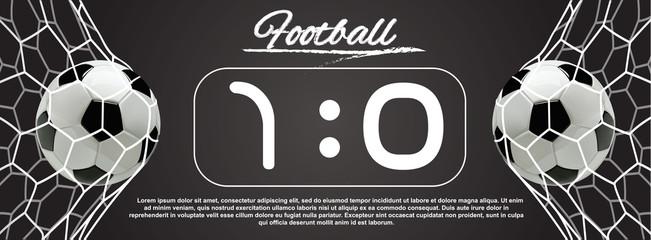 Soccer or Football 3d Ball in the Net on dark background.