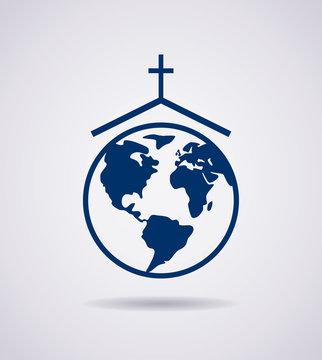 vector symbol or icon of church