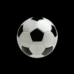Realistic soccer ball on black background. Vector.