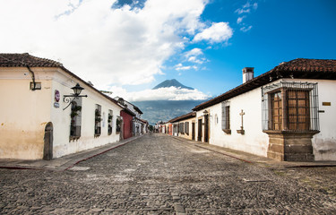 Colonial houses in tha street view of Antigua, Guatemala.