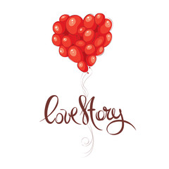 Valentine card -- Love story / Vector illustration, Heart made of balloons