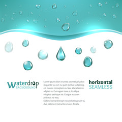 Shiny water droplets background. Horizontal seamless pattern