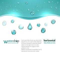 Shiny water droplets background. Horizontal seamless pattern
