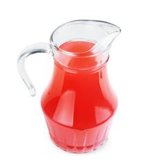 Jug of juice on white background