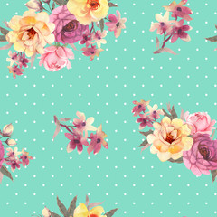 Roses flower watercolor seamless pattern
