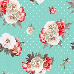 Peinies flower watercolor seamless pattern