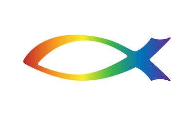 Fisch-Symbol / Christliches Motiv in Regenbogenfarben