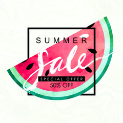 """""""summer sale"""" hand written lettering vector illustration with watercolor paint textured watermelon on trendy marbled background"""