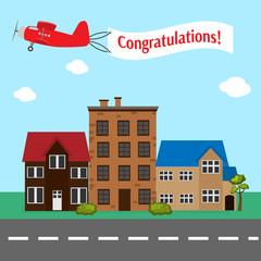 Plane with congratulation banner