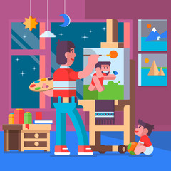 Father painting pictures with their children.Vector Illustration