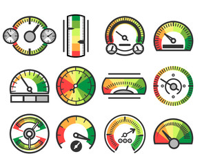 Measuring guage device vector icons. Measurement and measure, level indicator meter signs