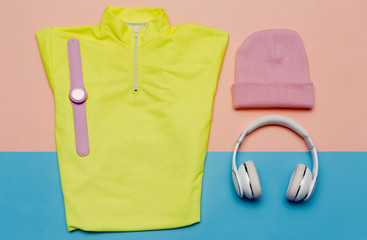 minimal Sports Set T-shirt Cap Sneakers Headphones Bright outfit trend clothes fitness and dynamics