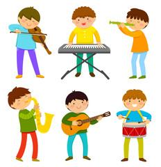 Printset of kids playing musical instrument