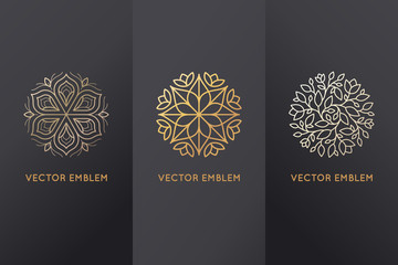 Vector set of design elements and logo templates