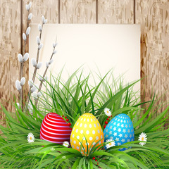 Golden Easter eggs on a wooden background
