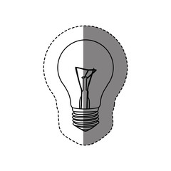 monochrome contour sticker with silhouette of bulb light vector illustration