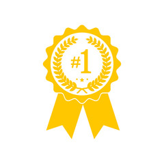 Yellow medal icon with ribbon. Vector illustration.