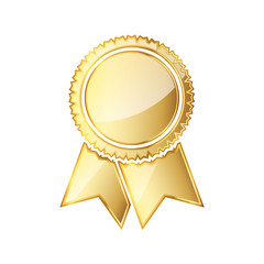 Golden medal icon with ribbon. Vector illustration.