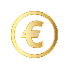 Golden symbol of the euro currency. Vector illustration.