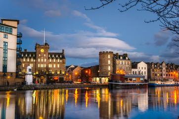 Historic Buildings on the Old Leith Harbour at Dusk. Edinburgh, Scotland