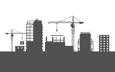 Four Unfinished Buildings. Two Cranes. Colourless
