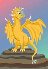 Gold baby dragon on the rock