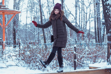 winter, berries, lady, people, frost, ice, frozen, red, snow