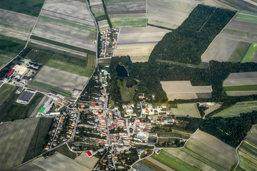 Aerial photo, agrar landscape, village, Austria, Lower Austria,