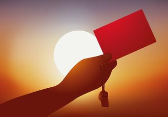 Carton Rouge - Football - Arbitre - Coucher de soleil