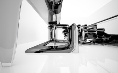Abstract interior with glossy black sculpture. 3D illustration and 3D rendering
