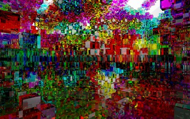 Abstract interior of colored glass blocks. 3D illustration. 3D rendering