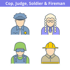 Occupations colorful avatar set: judge, policeman, fireman, soldier. Flat line professions userpic collection. Vector thin outline icons for profiles, web design, social networks and infographics.