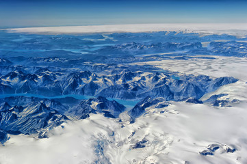 Greenland view from the airplane