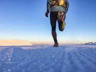 Man running on the snow