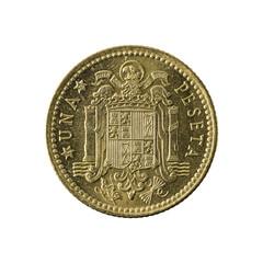 1 spanish peseta coin (1966) obverse isolated on white background