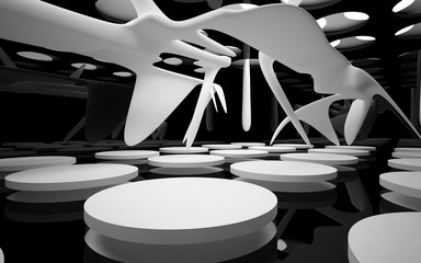 Abstract glossy black interior with white sculpture. 3D illustration. 3D rendering.