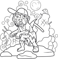 cartoon zombie with an ax in the back