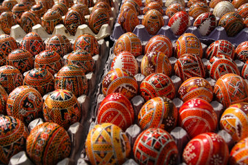 Traditional ornaments on easter eggs.