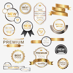 Collection of golden premium promo seals/stickers. Isolated vector illustration.