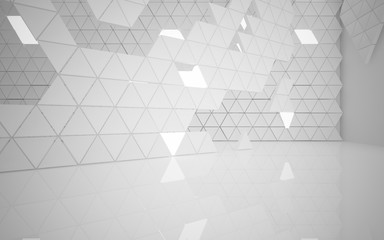 The structure of the white  triangle prism. Architectural background of the future. 3D illustration. 3D rendering