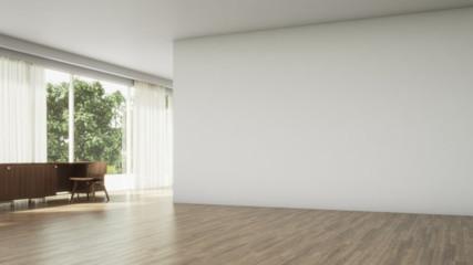 Bright interior empty room 3D render. Living room interior. Wood Floor. Scandinavian interior. 3d illustration