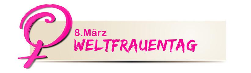 Weltfrauentag, 8. März - Banner mit Typographie und Venus Symbol